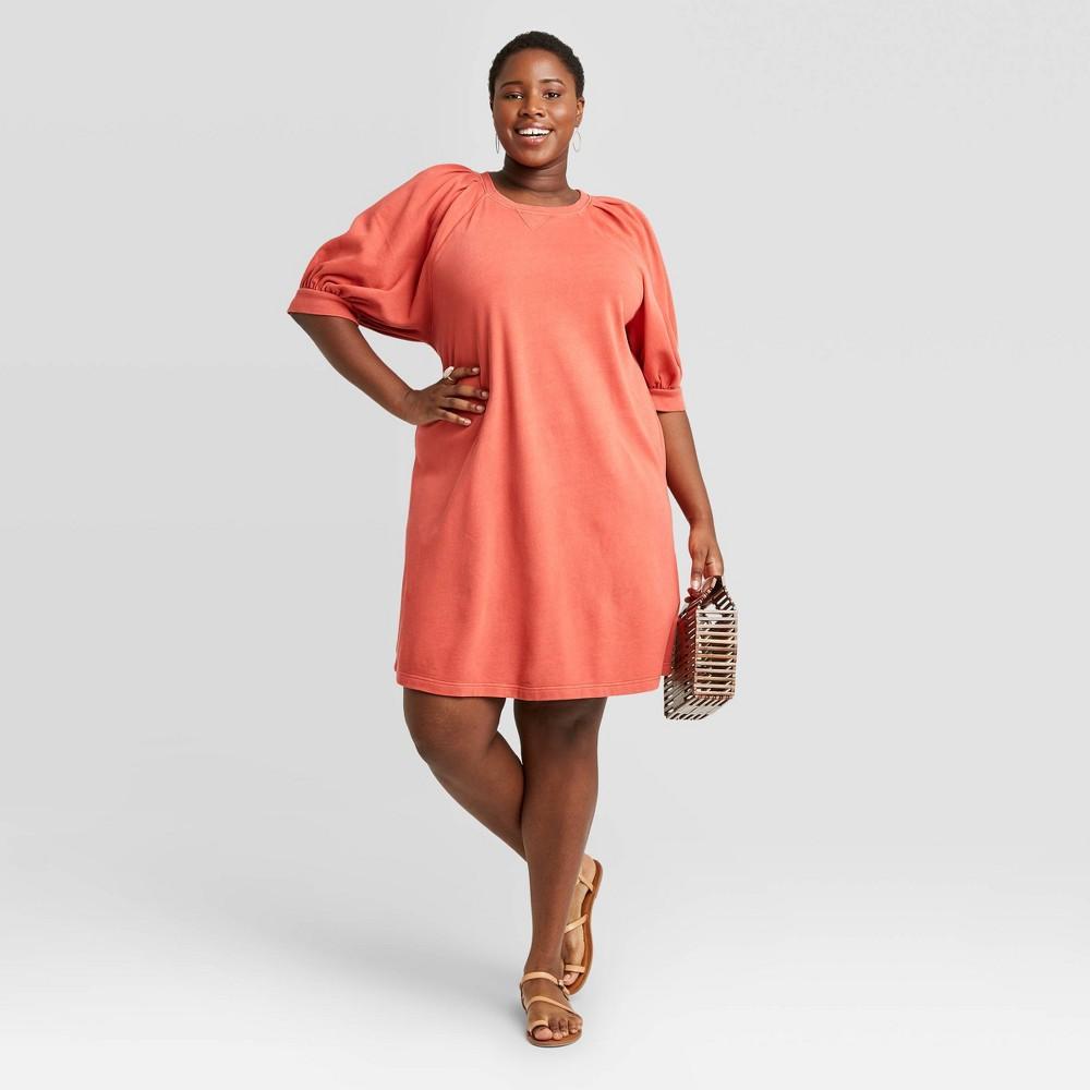 Women 39 S Plus Size Puff Short Sleeve T Shirt Dress Universal Thread 8482 Coral 1x