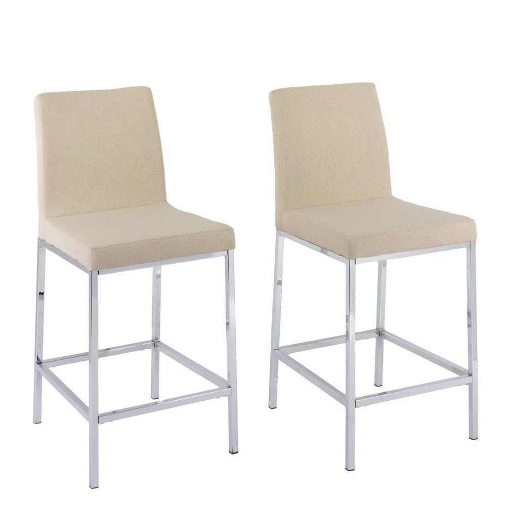 Remarkable Set Of 2 Counter And Bar Stools Beige Corliving Ibusinesslaw Wood Chair Design Ideas Ibusinesslaworg