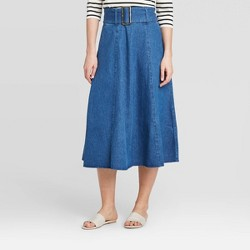 Women's Mid-Rise Belted Swing A-Line Midi Skirt - Who What Wear™