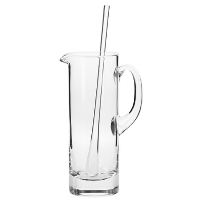Krosno Handmade Glass Bond Martini Pitcher and Stirrer - 30oz