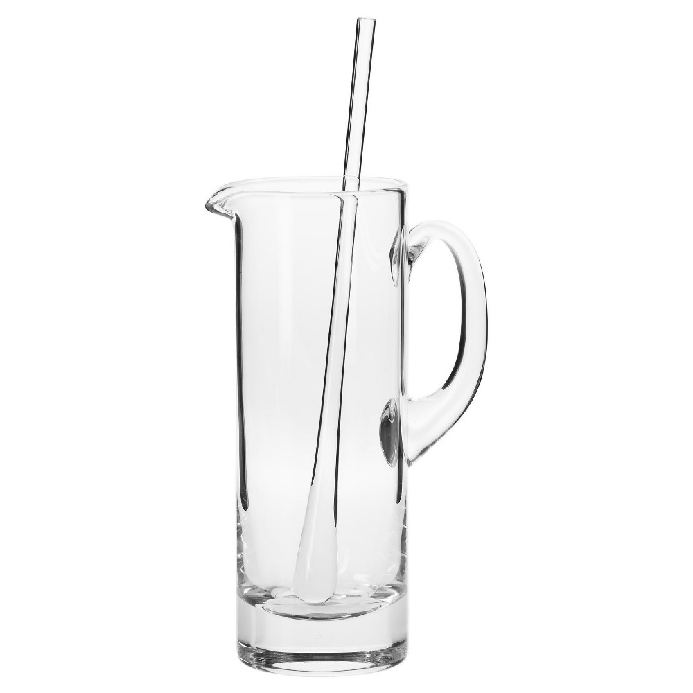 Image of Krosno Handmade Glass Bond Martini Pitcher and Stirrer - 30oz, Clear