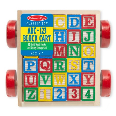 Melissa & Doug® Classic ABC Wooden Block Cart Educational Toy With 30 Solid Wood Blocks