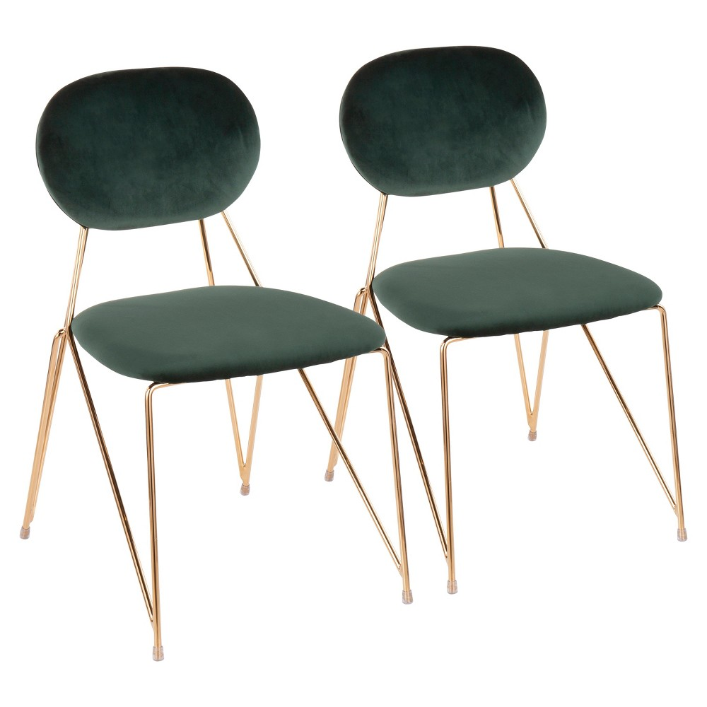 Set of 2 Gwen Contemporary Glam Chairs Green/Gold - LumiSource Best