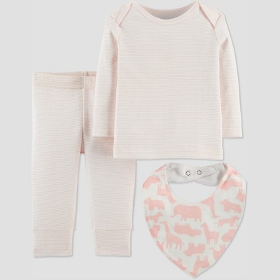Baby Girls' 3pc Stripe Set with Bib - Just One You® made by carter's Pink Newborn