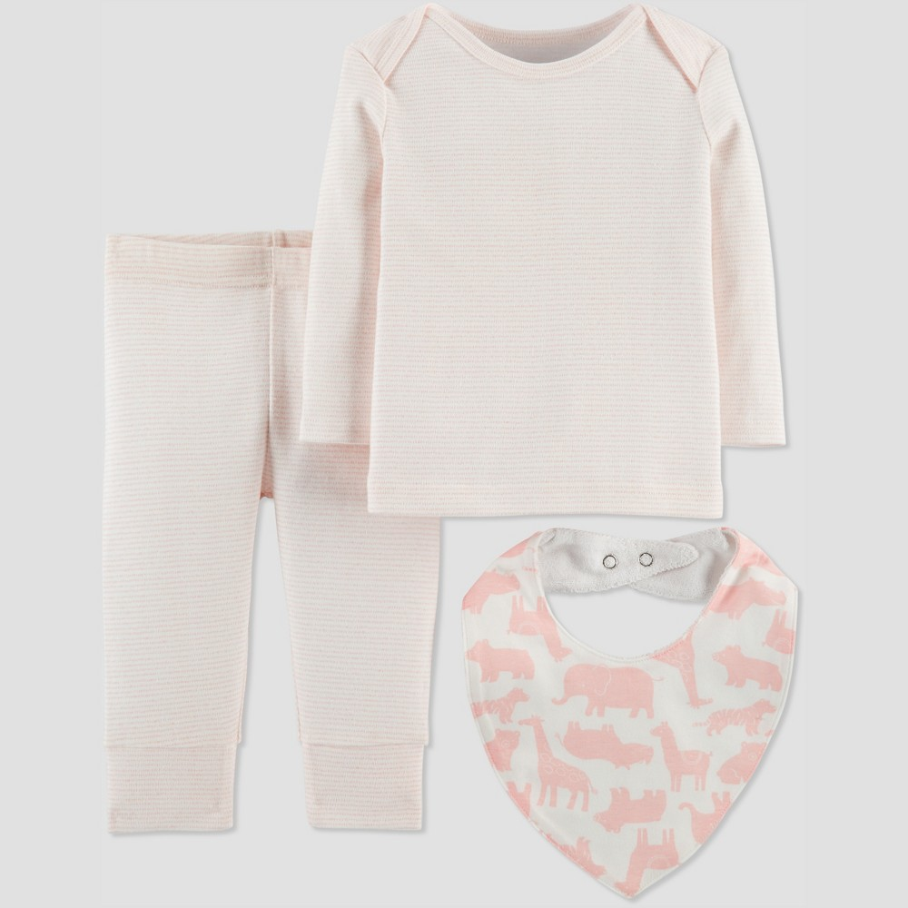 Baby Girls' 3pc Stripe Set with Bib - Just One You made by carter's Pink 6M