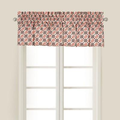 C&F Home Brown Retro Mid Century Modern Geometric Orange Bedroom Guestroom Premium Window Valance