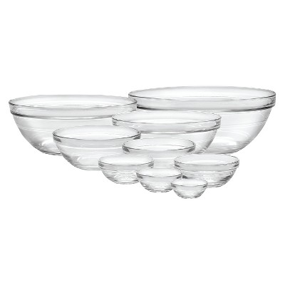 Duralex 9pc Glass Stackable Bowls - Clear