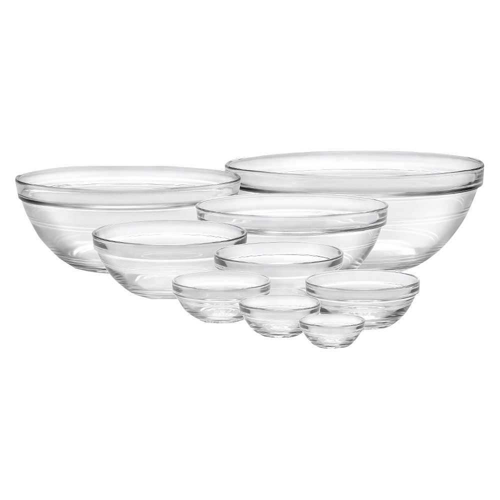 Image of Duralex 9pc Glass Stackable Bowls - Clear