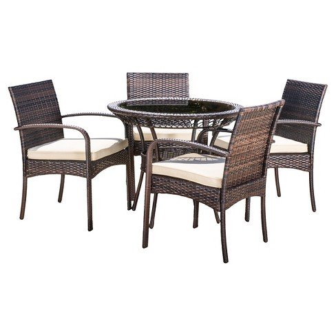 Charles 5pc Wicker Patio Dining Set with Cushions - Christopher Knight Home - image 1 of 4