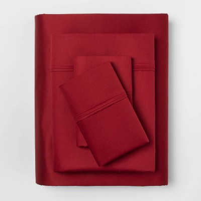 Queen 400 Thread Count Solid Performance Sheet Set Red - Threshold™