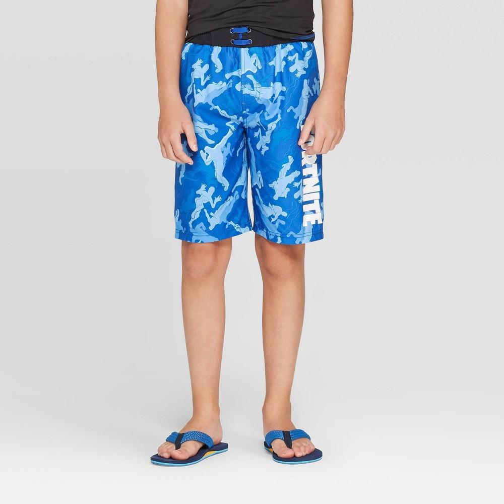 Image of Boys' Fortnite Camo Print Swim Trunks - Blue XL, Boy's