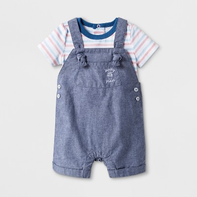 Baby Boys' 2pc Short Sleeve Bodysuit and Overall - Cat & Jack™ Blue 0-3M