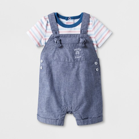 Baby Boys' 2pc Bodysuit and Overall - Cat & Jack™ Blue - image 1 of 2