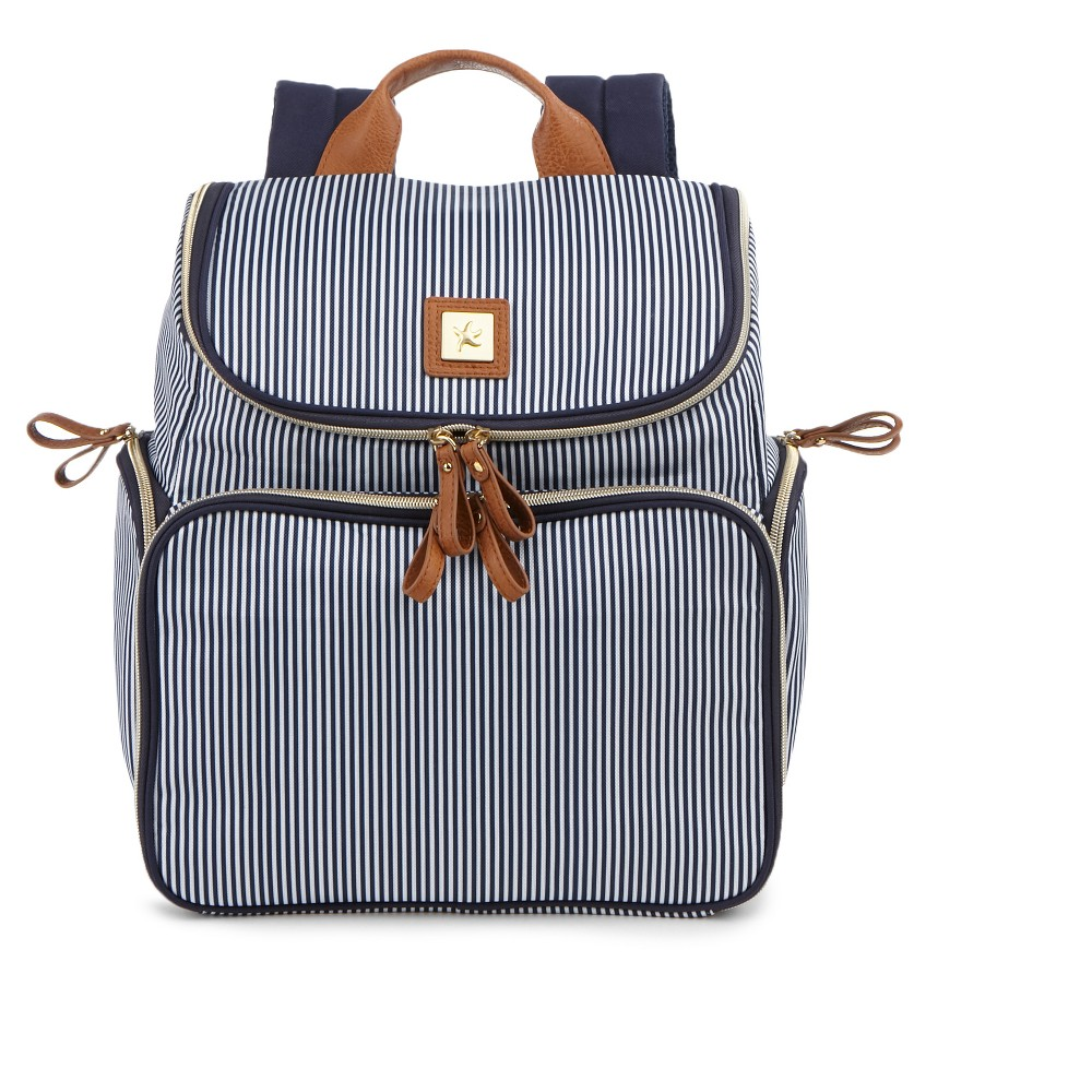 Image of Bananafish Striped Breast Pump Backpack - Blue/White