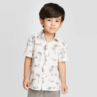 Toddler Boys' Short Sleeve Palm Printed Woven Button-Down Shirt - art class™ White/Black 12M