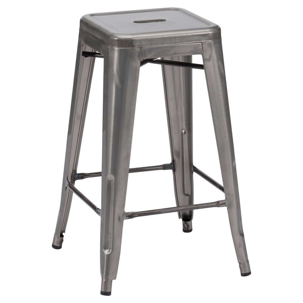 26 Rustic Industrial Bistro Style Counter Stool - Gunmetal (Grey) (Set of 2) - ZM Home