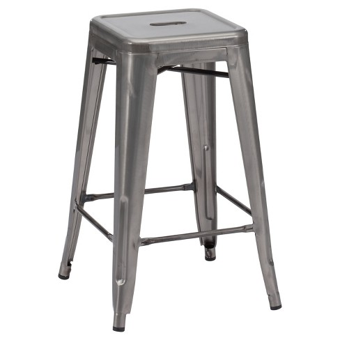 Enjoyable 26 Rustic Industrial Bistro Style Counter Stool Gunmetal Set Of 2 Zm Home Pdpeps Interior Chair Design Pdpepsorg