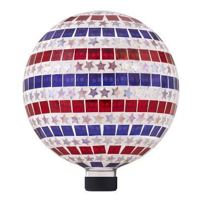 "Alpine 11"" Patriotic Stars and Stripes Glass Gazing Globe"