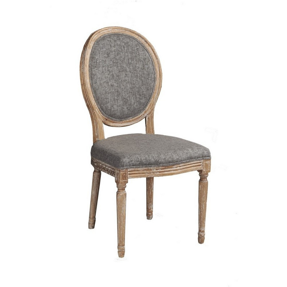 Set of 2 Manchester Oval Back Chairs Charcoal Gray - Linon