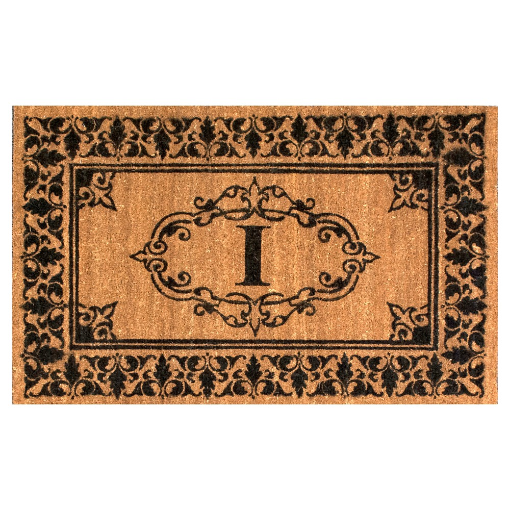 Light Brown Monogram Woven Doormat - (3'x5') - nuLOOM, Light Brown - I
