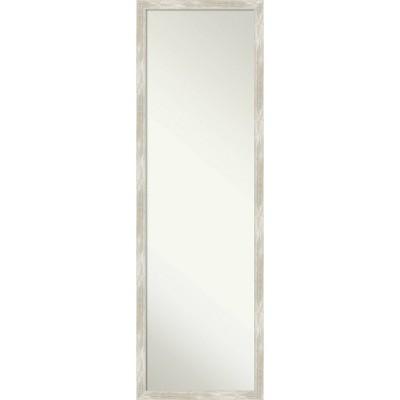 "16"" x 50"" Crackled Narrow Framed Full Length on the Door Mirror Metallic - Amanti Art"