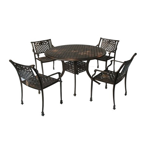 Sebastian 5pc Cast Aluminum Outdoor Dining Set Dark Copper