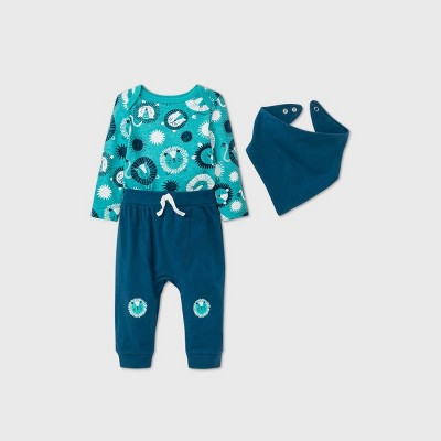 Baby Boys' Lion Top & Bottom Set with Bib - Cat & Jack™ Turquoise 0-3M
