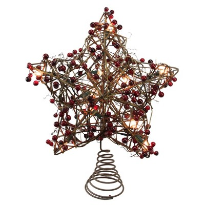 """Northlight 13.5"""" Brown Rattan with Red Berries Star Christmas Tree Topper - Clear Lights"""