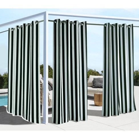Coastal Printed Striped Grommet Top Indoor/Outdoor Blackout Curtain Panel - Outdoor Décor - image 1 of 4