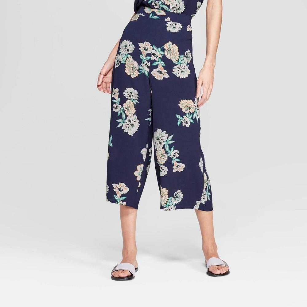 Women's Floral Print Cropped Wide Leg Pants - Xhilaration Navy L, Blue