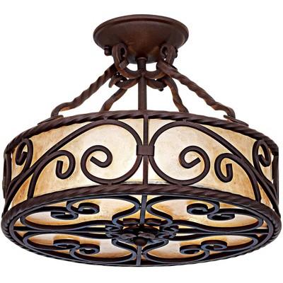 "John Timberland Rustic Ceiling Light Semi Flush Mount Fixture Deep Walnut Scroll 15"" Wide Natural Mica Drum Shade Bedroom Kitchen"
