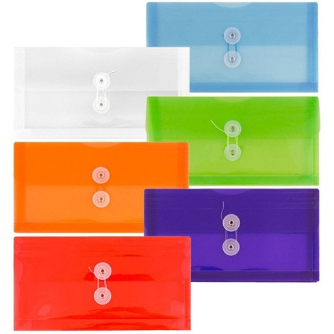 JAM Paper 5 1/4'' x 10'' 6pk Plastic Envelopes with Button and String Tie Closure - Multicolor - image 1 of 4