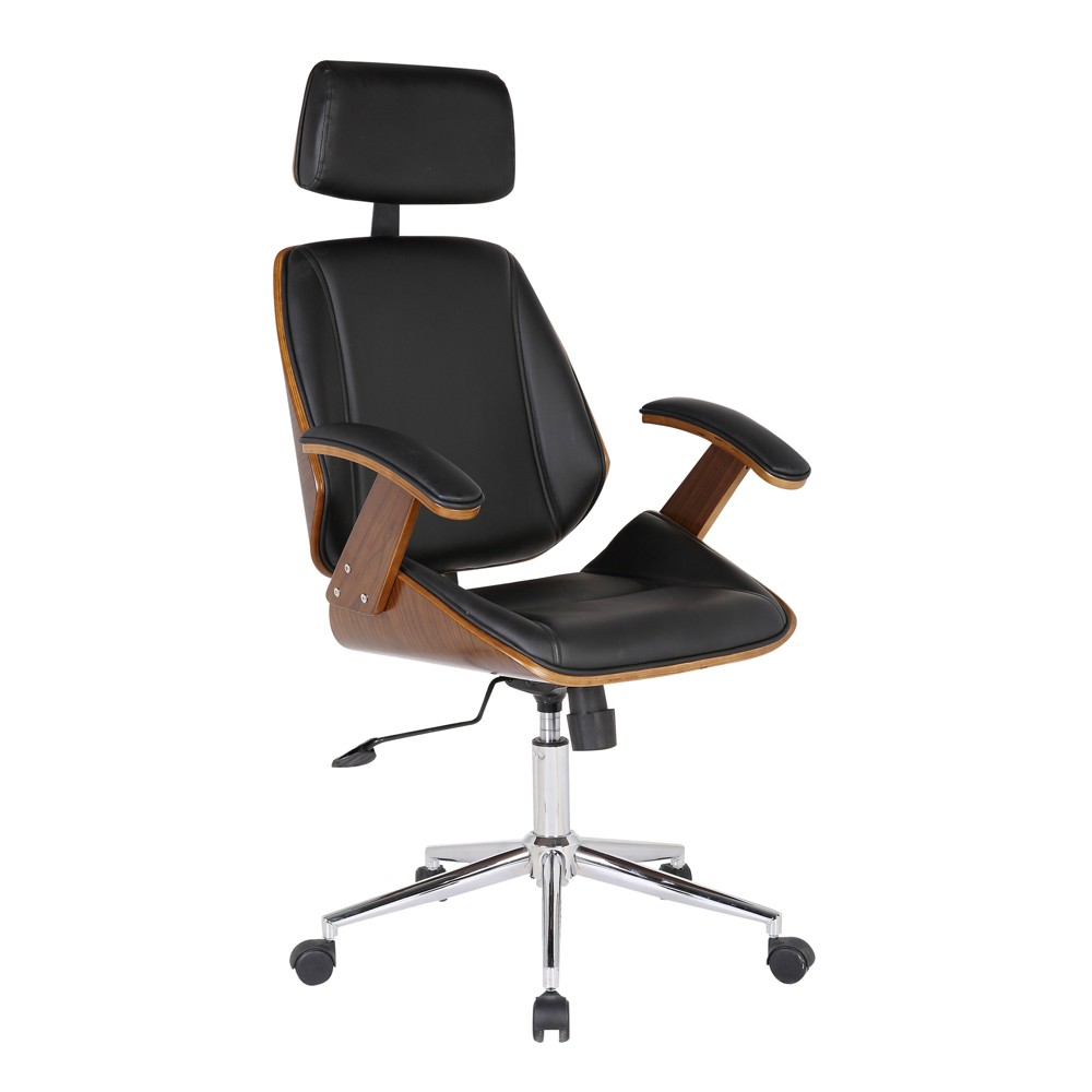 Century Office Chair with Multifunctional Mechanism in Chrome finish with Black Faux Leather and Walnut (Brown) Veneer Back - Armen Living