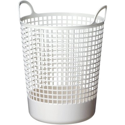 Like-It SCB-10 15 x 16 x 20 Inch Large Midcentury Modern Scandinavian Style Round Durable Plastic Storage Basket for Storage and Organization, White