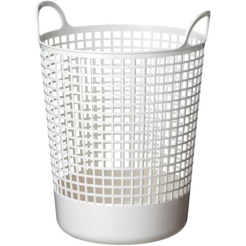 Like-It SCB-10 15 x 16 x 20 Inch Large Midcentury Modern Scandinavian Style Round Durable Plastic Storage Basket for Storage and Organization, White - image 1 of 4