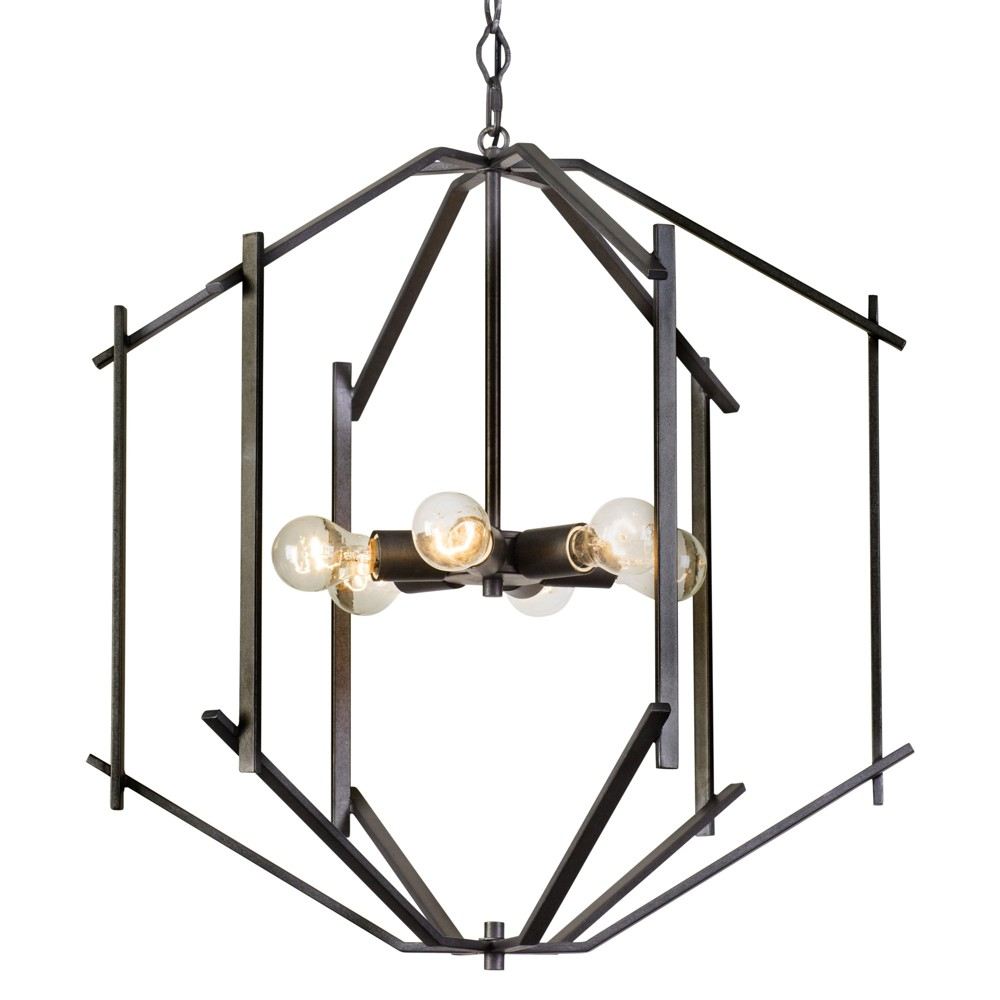 Offset 6-Light Pendant Forged Iron - Rogue Decor Co.