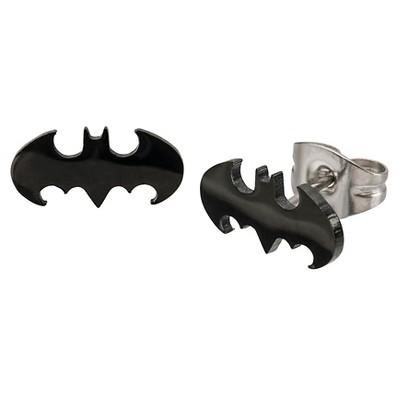 Women's DC Comics Batman Logo Cut Out Stainless Steel Stud Earrings - Black