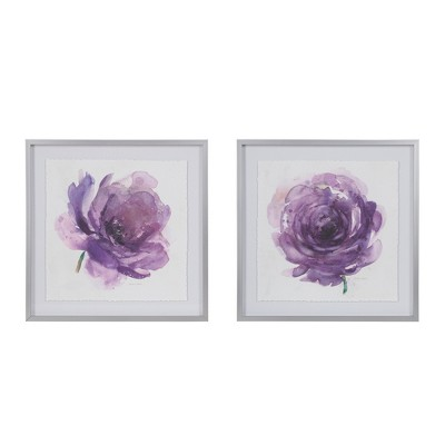 "(Set of 2) 25"" Square Purple Ladies Rose Decorative Wall Art Frame Purple"