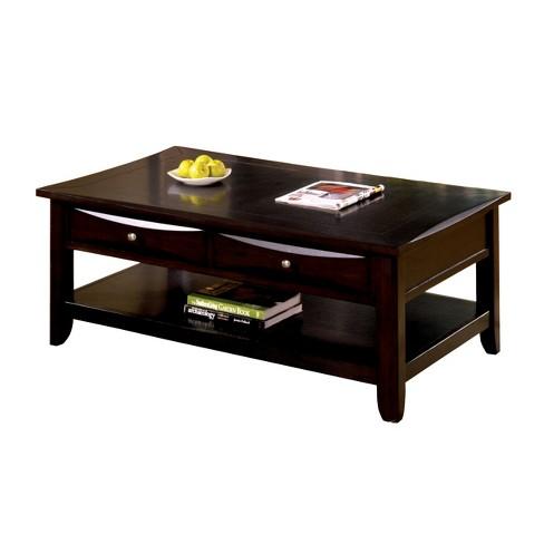 Sun Pine Langen Modern 2 Drawer Coffee Table Espresso