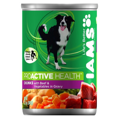 Iams ProActive Health Adult Chunks with Beef and Vegetables in Gravy Wet Dog Food - 12.3oz - image 1 of 3