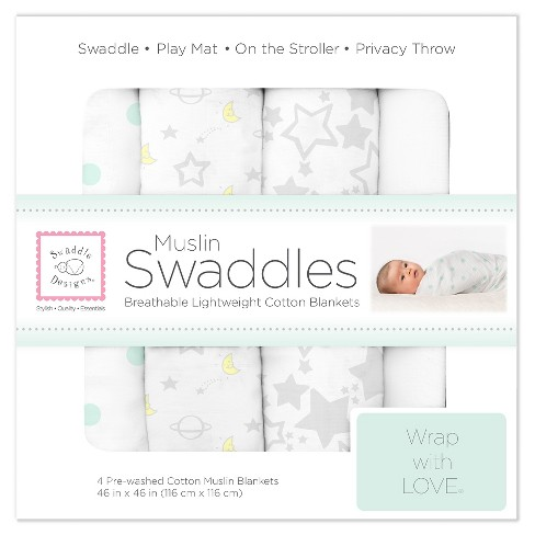 SwaddleDesigns® Cotton Muslin Swaddle Blankets - Goodnight Starshine - 4pk - Sterling Gray - image 1 of 5