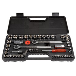29601b90e 52pc with Socket Set SAE and Metric Hand Tool Set Clear - Stalwart