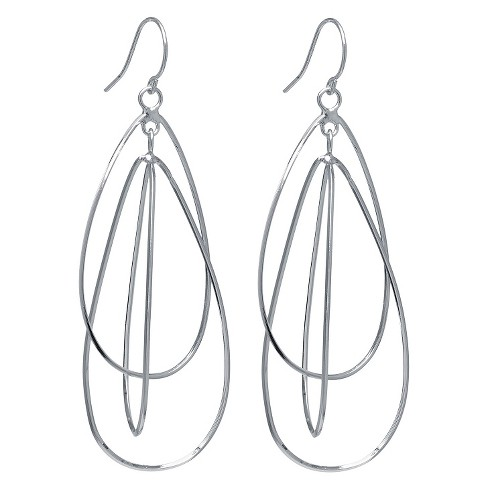 Silver Plated Brass Interlock Tear Drop Earrings - image 1 of 1
