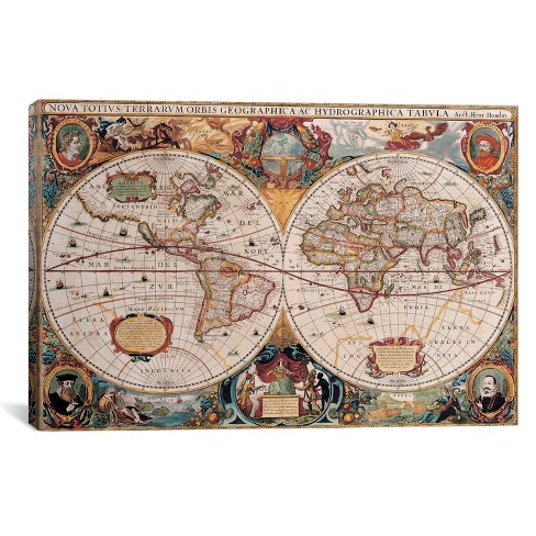 Antique World Map by Henricus Hondius Canvas Print 12 x 18 - iCanvas - image 1 of 2