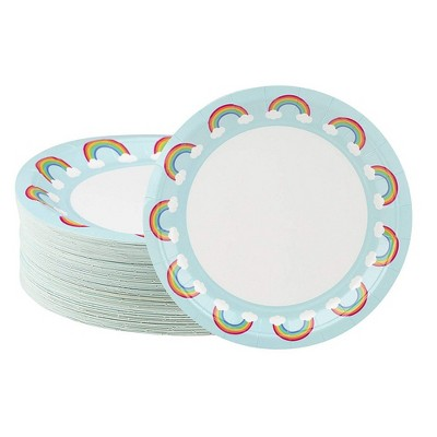 Blue Panda Disposable Plates - 80-Count Paper Plates, Rainbow Party Supplies, Kids Birthdays, 9 x 9 inches