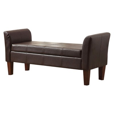 Beau Homepop Faux Leather Settee Storage Bench   Brown