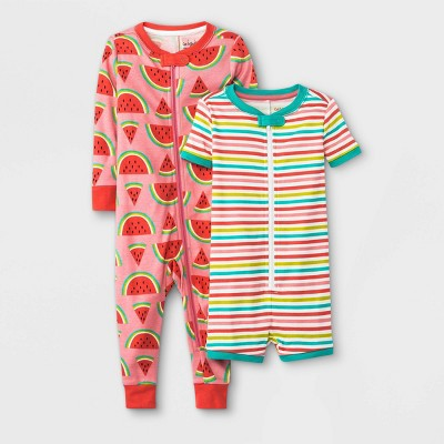 Baby Girls' 2pk Loved Watermelon Union Suit - Cat & Jack™ Red