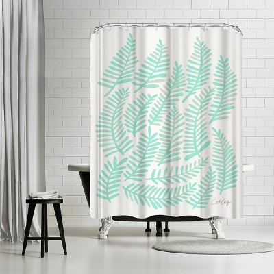 """Americanflat Fronds Mint by Cat Coquillette 71"""" x 74"""" Shower Curtain"""