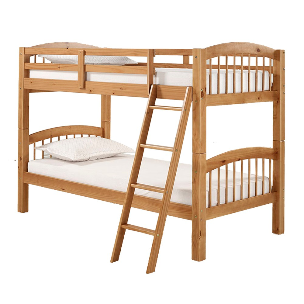 Spindle Twin Over Twin Bunk Bed Cinnamon (Red) - Bolton Furniture