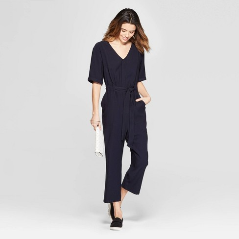 52ca808ea3f Women s Short Sleeve V-Neck Utility Jumpsuit - A New Day™ Blue   Target